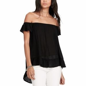 Denim Supply Black Crepe Off The Shoulder Top L